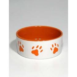 Miska keramická pes s oranž.tlapkami Bílá 0,8l 16cm TR