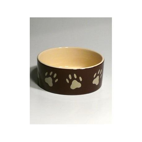 Miska keramická pes s béž.tlapkami Hnědá 0,8l 16cm TR
